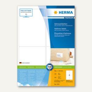 Herma Etiketten PREMIUM A4, 99.1 x 139 mm, matt weiß, 400 St. / 100 Blatt, 4250