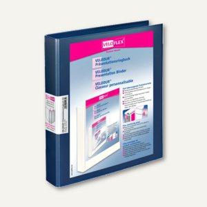 Präsentationsringbücher VELODUR, DIN A4, 2 D-Ringe Ø 25 mm, blau, 10 Stück