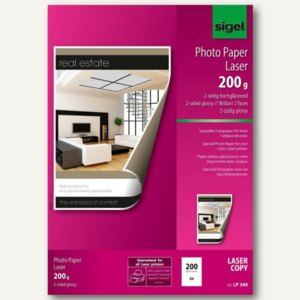 Sigel Fotopapier für Farb-Laser-Kopierer, DIN A4, glossy 200g/m², 200Bl., LP344