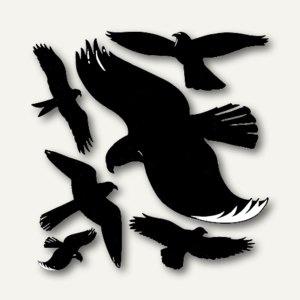 Fensterwarnvögel, selbstklebend, wetterfest, schwarz, 6 Etiketten, 4485