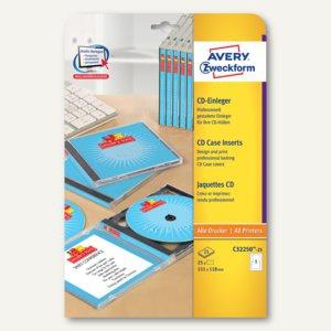 CD / DVD-Einleger für alle Drucker - 151 x 118 mm, unbeschichtet, weiß, 25 Stück