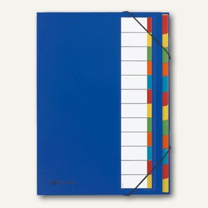 Pagna Ordnungsmappe Deskorganizer, 12 Fächer, Karton, blau, 44133-02