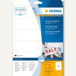 Herma Haftetiketten, 88.9 x 46.6 mm, ablösbar, weiß, 300 St., 10010