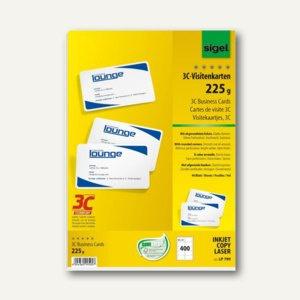 Sigel PC-Visitenkarten 3C, 85 x 55 mm, 200 g/m², hochweiß, 400 Stück, LP799