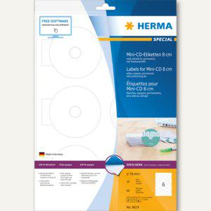 Herma CD-Etiketten Mini, Ø 78 mm, blickdicht, matt, weiß, 5x 60 Stück, 8619 - Vorschau