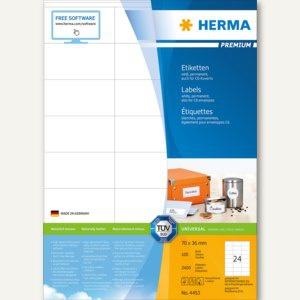 """Herma Universal-Etiketten """" PREMIUM"""", 70 x 36 mm, weiß, 2.400 Stück, 4453"""