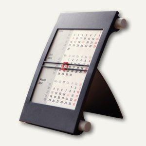 3-Monats-Tischaufstellkalender, für 2 Jahre, Drehmechanik, 18x11 cm schwarz/grau