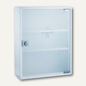 Erste-Hilfe-Verbandsschrank mit Glastür, 36 x 32 x 10 cm, 2 Böden, Stahl, weiß