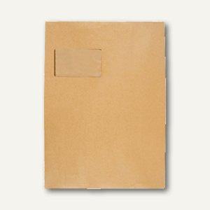 Faltentasche C4, Klotzboden 20mm Falte, mit Fenster, haftkl., braun, 100 St.
