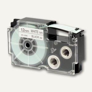 Casio Beschriftungsband 12 mm/8 m, schwarz auf weiß, XR-12WE1