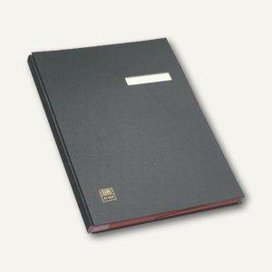 Unterschriftenmappe für DIN A4, 20 Fächer, dehnbarer Leinenrücken, PVC, schwarz