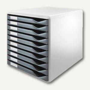 Schubladenbox Formular-Set, DIN A4, 10 Schübe, 29x35x29 cm, PS, lichtgrau/d-grau
