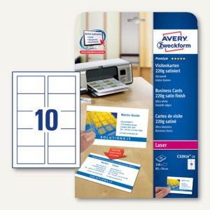 Visitenkarten PREMIUM, 85 x 54 mm, 220g/m², satiniert, beidseitig, Laser, 250 St