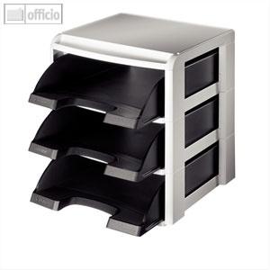 LEITZ Stapelmodul-Set, Briefablage, DIN A4, Polystyrol, schwarz, 5327-00-95