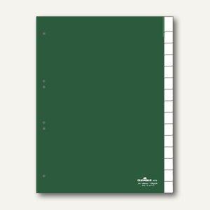 Kunststoff-Register DIN A4, blanko, Schilder bedruckbar, 15-tlg., grün, 6222-05