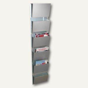 Wandzeitungshalter mit 6 Fächern, 1500 x 300 x 100 mm, Aluminium eloxiert