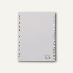 Register DIN A4, geprägte Taben, 1-31, PP, 31-teilig, grau, 10 Stück, 6523-10