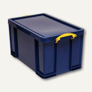 Aufbewahrungsbox - 84 Liter, 710 x 440 x 380 mm, Deckel & Griffe, PP, blau