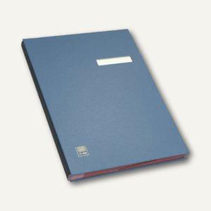 Unterschriftenmappe für DIN A4, 20 Fächer, dehnbarer Leinenrücken, PVC, blau