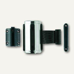 Gurt-Wandkassette/Absperrgurt, f. Personenleitsystem, Chrom/schwarz, 8110-11