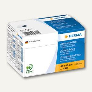 Herma Adress-Etiketten-Rolle, 89 x 42 mm, weiß, 250 Stück, 4341