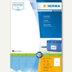 """Herma Etiketten """" Premium"""", 210 x 297 mm, permanent, weiß/matt, 100 Stück, 4428"""