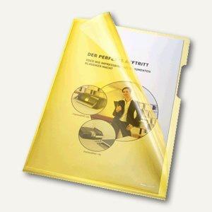 Bene Aktenhüllen 150my DIN A4, oben u. rechts offen, gelb, 100 St., 205000 GE