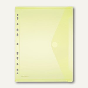 Dokumententasche A4 quer, Abheftstreifen, PP, Klett, gelb, 100St., 40106-64