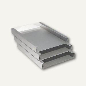 officio Briefablage DIN A4, Aluminium, stapelbar, 305 x 230 x 110 mm, 3-er Set
