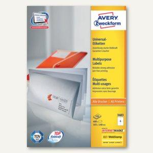 Avery Zweckform Universal-Etiketten, 105 x 148 mm, weiß, 400 Stück, 3483