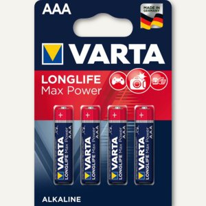 Varta Alkaline Batterie MAX TECH, Micro AAA LR03, 4er Pack, 04703