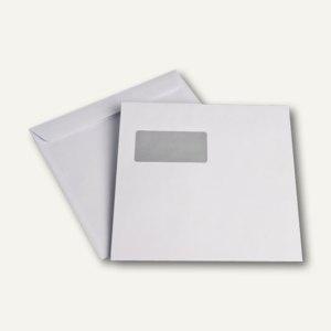 Briefumschläge 220 x 220 mm, mit Fenster, haftklebend, weiß, 100g/qm, 500 Stück