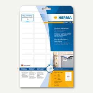 Herma Outdoor Klebefolie, wetterfest, 45.7 x 21.2 mm, matt weiß, 480 Stück, 9531