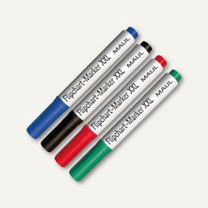 MAUL Flipchartmarker XXL, Keilspitze 3 - 6 mm, 4 versch. Farben, 8 Stück, 6383899