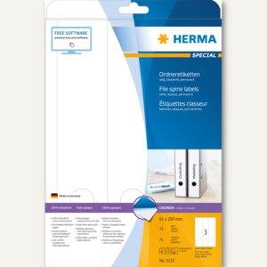 Herma Ordneretiketten, permanent, blickdicht, 297 x 61 mm, weiß, 75 Stück, 5135