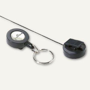 Durable Ausweishalter, mit Jojo & Schlüsselring, anthrazit, 10 Stück, 8222-58