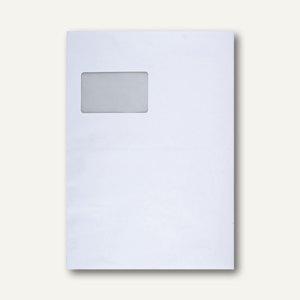 Faltentasche C4, Klotzboden 20 mm Falte, mit Fenster, haftkleb., weiß, 100er