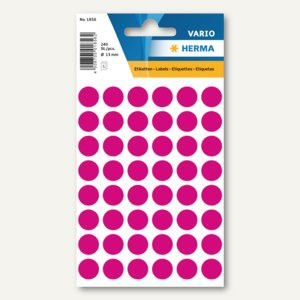 Herma Vielzweck-Etiketten, ø 13 mm, pink, 10 x 240 Stück, 1856