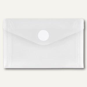 FolderSys Umschlag f. Visitenkarten, quer, Klett, klar/weiß, 100 St., 40119-10