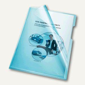 Bene Aktenhüllen 150my DIN A4, oben u. rechts offen, blau, 100 Stück, 205000 BL