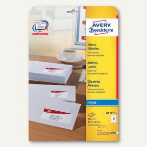 Zweckform Adress-Etiketten für DIN lang, Inkjet, 99.1 x 42.3 mm, 300St., J8177-25 - Vorschau