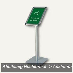 Franken Infodisplay DIN A4 quer auf Stativ, Höhe 80 cm, Aluminium, BS0903
