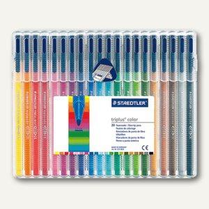 Staedtler Fasermaler triplus color 323, 20 Stifte farbig sortiert, 323 SB20