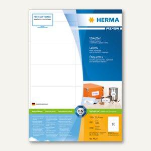 Herma Etiketten PREMIUM A4, 105 x 50.8 mm, matt weiß, 2.000 St. / 200 Blatt, 4629