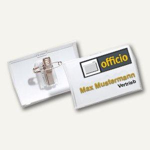 Namensschild Click Fold, 90 x 54 mm, Kombiklemme, transparent, 25 Stück, 8214-19