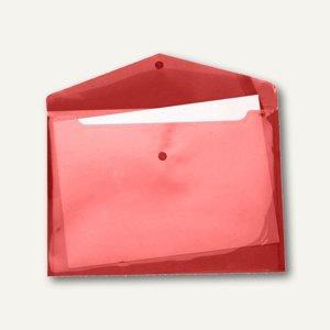 Dokumententaschen A4 quer, Druckknopf, PP, rot-transparent, 100 St., 40111-84