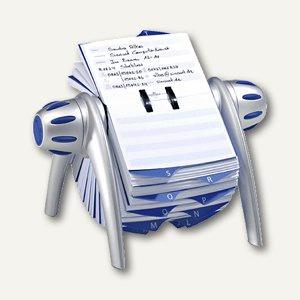 Durable Rotationskartei TELINDEX flip, silber-metallic/blau, 2416-23