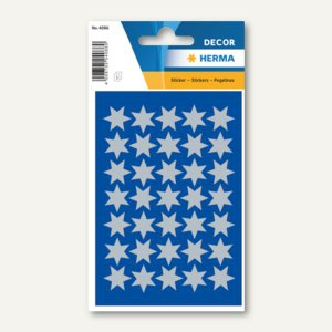 Herma Sticker DECOR Sterne, 6-zackig, Ø 16 mm, silber, 10 x 3 Blatt, 4086