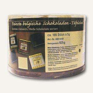 Hellma Belgische Schokoladentäfelchen, 165 Stück in der Runddose, 60114424