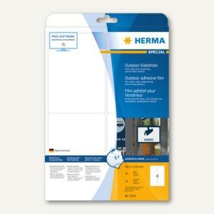 Herma Outdoor Klebefolie, wetterfest, 99.1 x 139 mm, matt weiß, 40 Stück, 9534